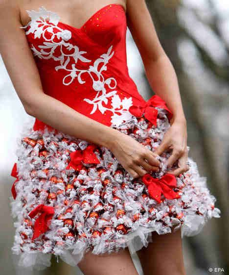 Cute(:  Lindt chocolate from Switzerland  ****Hey girls, this dress is what I am going to wear to the Pinterest Christmas Party. It is made of wrapped truffles.