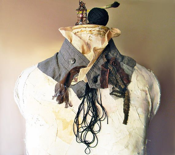 Steampunk fashion tweed high collar accessory in gray with