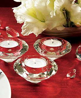 Crystal tea light candle holders -- great for decorating or as favors!