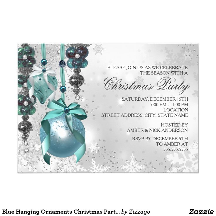 14 best christmas images on pinterest christmas parties blue hanging ornaments christmas party invite stopboris Image collections