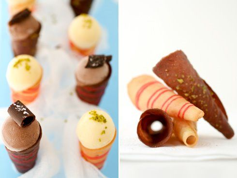 Vanilla and Chocolate Tuiles for ice cream cones!