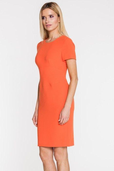 Wizytowa sukienka w pomarańczowym kolorze - Bialcon - Bialcon - Odzież damska Balladine.com - Polska Moda Online