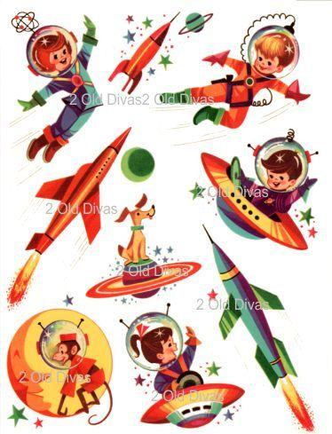1950s Retro Rocket Kids Waterslide Decals Space Ship by 2olddivas