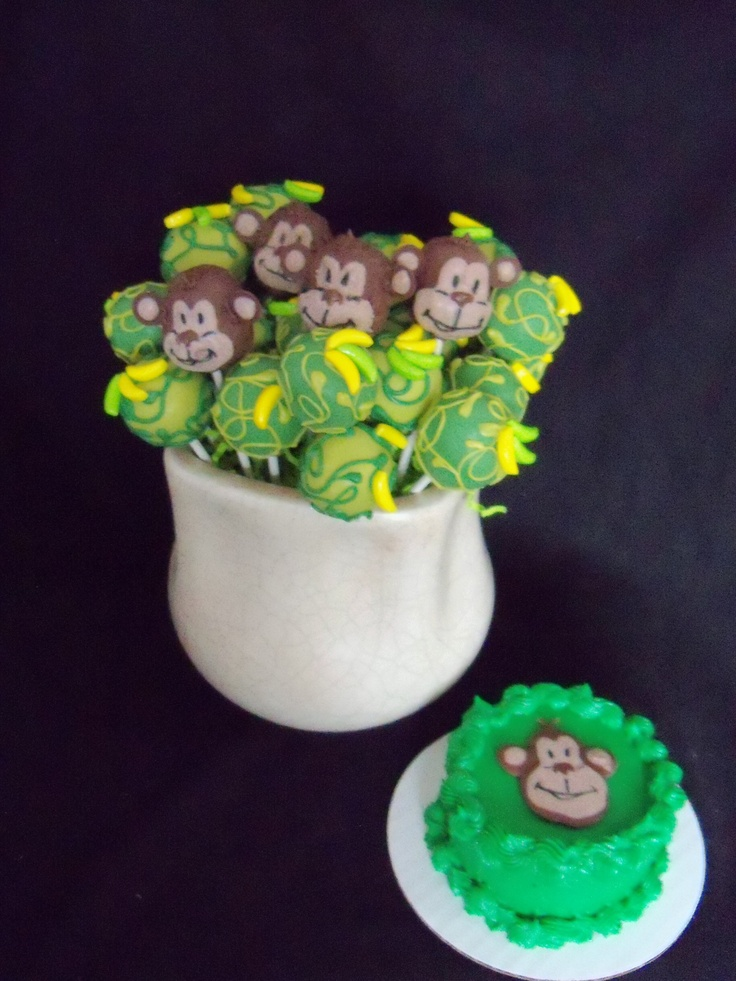 "monkey cake pops and smash cake - chocolate cake pops with a monkey/jungle theme. 4"" round smash cake"