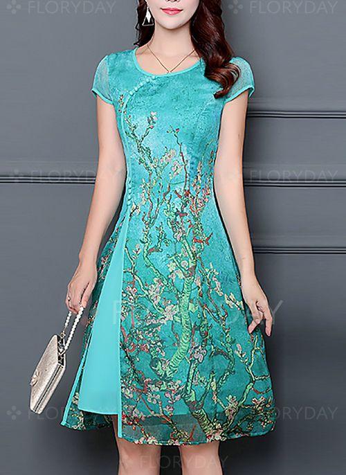 Dresses - $51.04 - Chiffon Floral Cap Sleeve Knee-Length Casual Dresses (1955150903)
