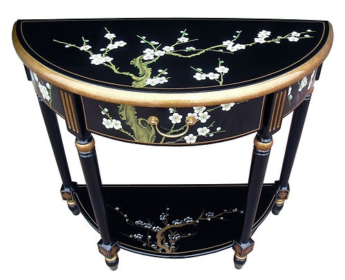Oriental/Chinese Furniture, Blossom Half Moon Table, Black Lacquer