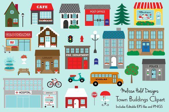 Town Buildings Clipart Town Building Clip Art Building