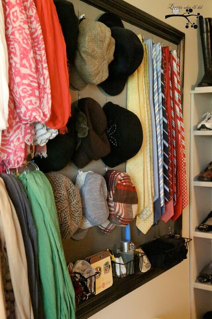 DIY: Closet Organizer Tutorial - made from trim moulding, pegboard & fabric.  This is a great way to organize the small stuff!
