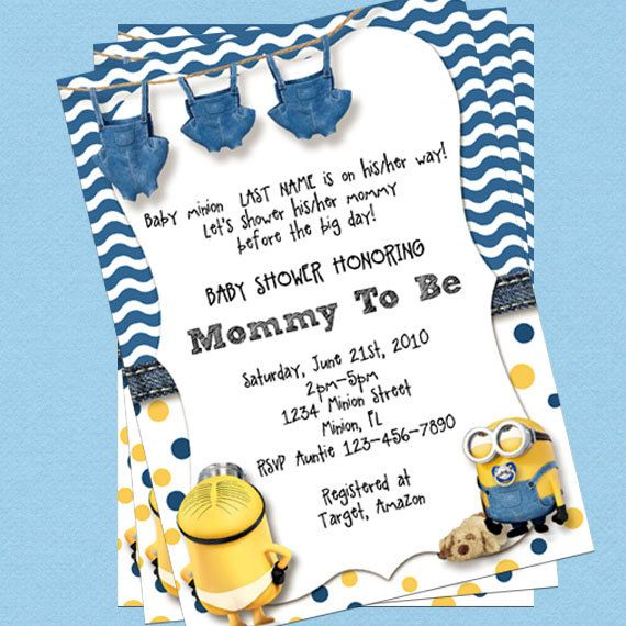 Superior Minion Baby Shower Invitations, Customize Yourself Instant Download In 4x6  Size