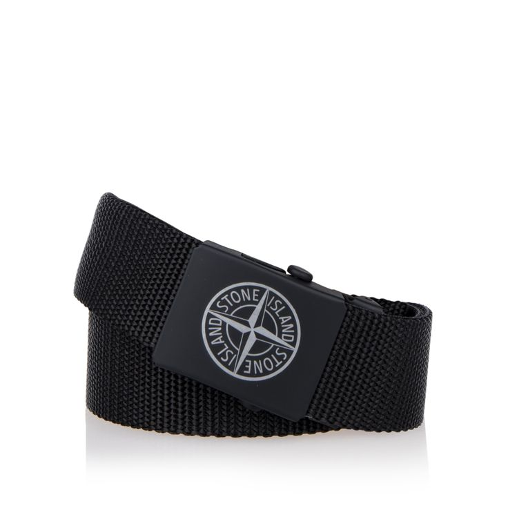 STONE ISLAND JUNIOR Boys Canvas Logo Belt - Black Boys buckled belt • Woven fabric strap • Metal strap tip • Tonal matte buckle • Engraved compass logo • Material:100% Polypropylene • Code: SHALL