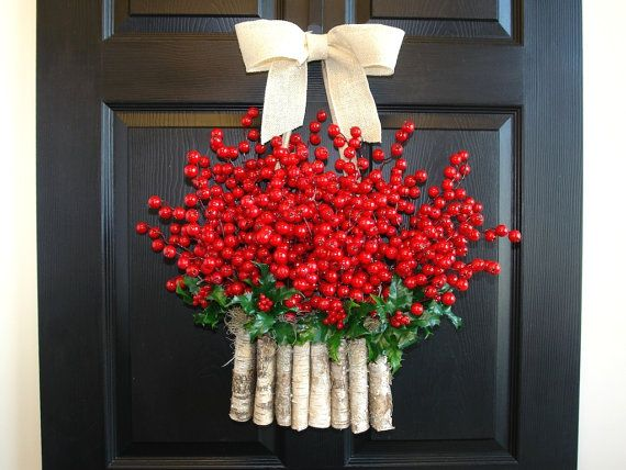 Articoli simili a Ghirlande di Natale vacanza rosso bacca corone corone stagioni auguri decorazioni di Natale porta d'ingresso betulla corteccia vasi corona su Etsy