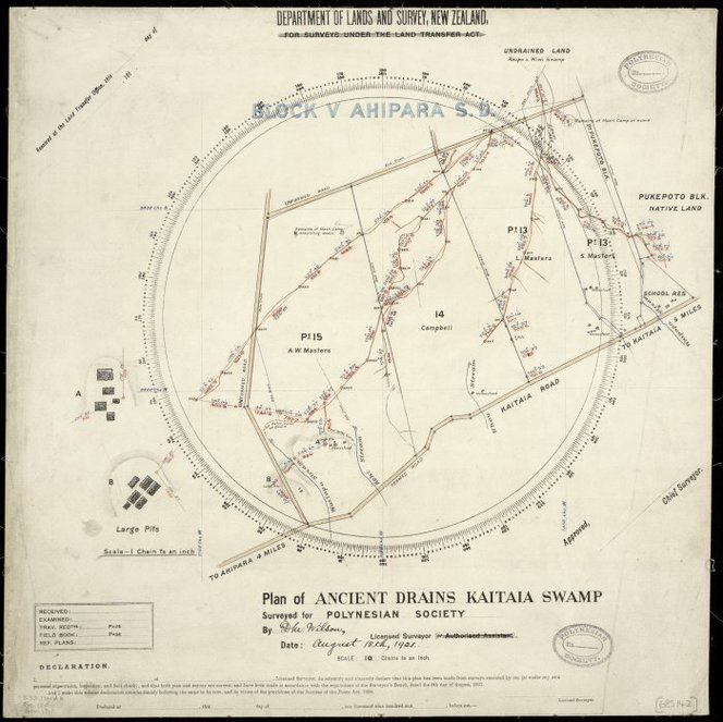 Wilson, D.M., fl 1921 :Plan of ancient drains Kaitaia swamp [ms map]. Surveyed for Polynesian Society by D.M. Wilson, Licensed Surveyor, August 18th, 1921.