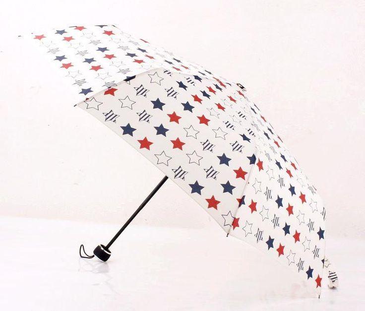 Quality USA Red, White & Blue Stars Folding Umbrella