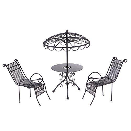 D DOLITY 3pcs Figurine de Table Chaise de Jardin en Métal ...