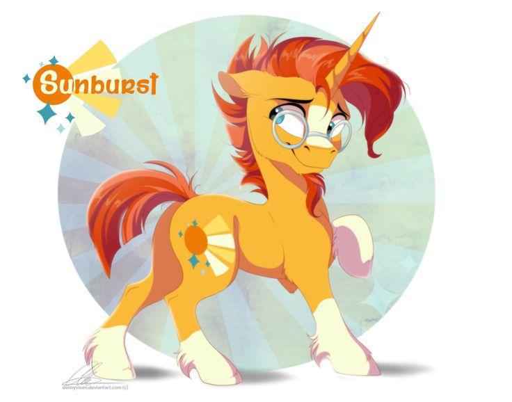 e621 2016 cutie_mark dennyvixen equine eyewear facial_hair feral friendship_is_magic glasses hair horn male mammal my_little_pony orange_hair solo sunburst_(mlp) unicorn