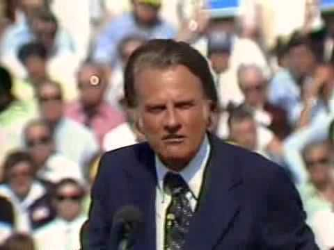 Billy Graham speaking in South Bend, May 1977