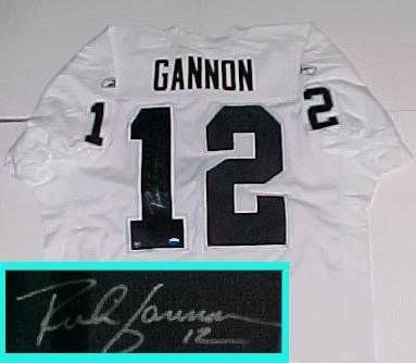 Rich Gannon Hand Signed Raiders White Jersey . $474.05. Rich Gannon Hand Signed Raiders White Jersey. Comes with a certificate of authenticity from Athletic Promotional Events.