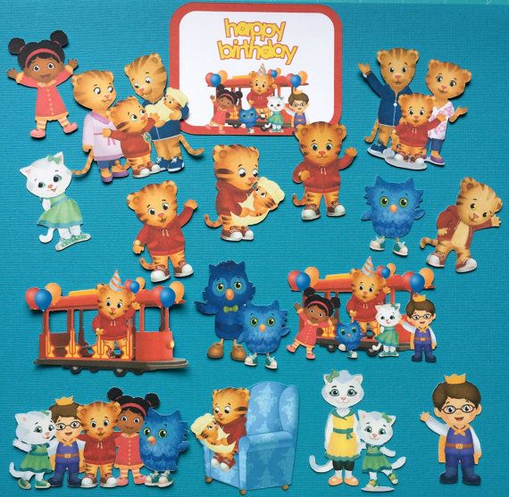 Daniel Tiger cupcake toppers, Daniel Tiger cake topper, Daniel Tiger party, O the Owl toppers, Prince Wednesday, Katerina Kittycat   ♥ Daniel Tiger cupcake toppers, each with a different design (approx. 1.55- 2.75 tall each and the lollipop sticks/toothpicks are 4 tall)  ♥ Bonus - Daniel Tiger happy birthday sign (4 X 3) ♥ You have a few purchasing options: Option 1: Purchase just the printed images (17 ct., no sticks) to use as you wish for invitations, decorations and scrapbooking. Pic...