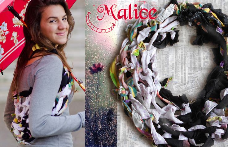 "Soft and voluminous, this infinity wrap scarf provides protection from the cold and can also be used as a shawl . Romantic fairy-tale flavor, this scarf from recycled fabrics is woven by hand with the ""hand-knitting technique"". One size unisex The fabrics used for this creation come from various donations. -----> Follow me on web: https://malicecraft.wordpress.com/  ---> fb: https://www.facebook.com/MaliceCrafts"