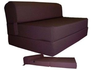 """Brown Sleeper Chair Folding Foam Bed Sized 6"""" Thick X 32"""" Wide X 70"""" Long, Studio Guest Foldable Chair Beds, Foam Sofa, Couch."""