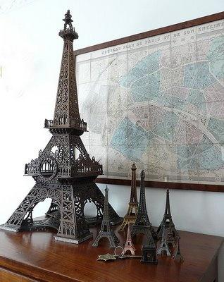 19th century map of paris w/ vintage Eiffel Tower