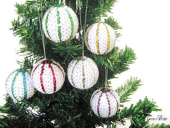 Sequined Balls for Christmas trees Palline by CreArtebyPatty
