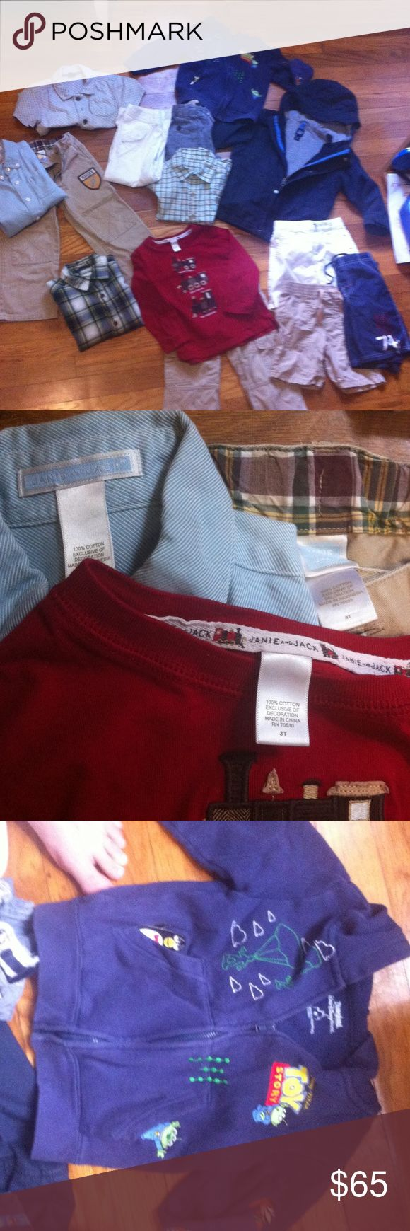 Boys Clothes bundle!!! 1. Janie and Jack red train long sleeve.                     2. Janie and Jack blue long sleeve.                       3. Janie and Jack Rugby kaki pants.                         4. Janie and Jack white pants.                                5. Janie and Jack kaki pants.                                  6. Janie and Jack white shorts.                             AND MANY MORE THINGS!! Sorry couldn't list them all Other