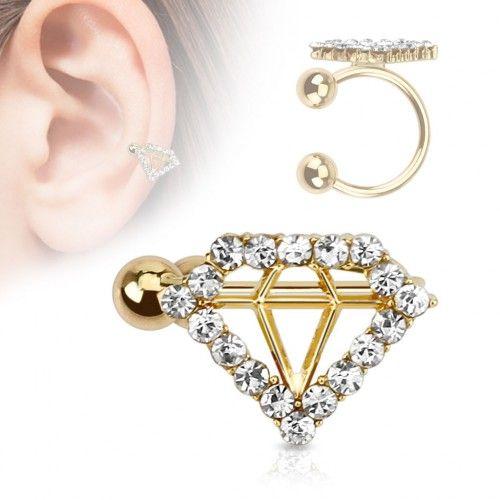 Faux piercing oreille doré diamant