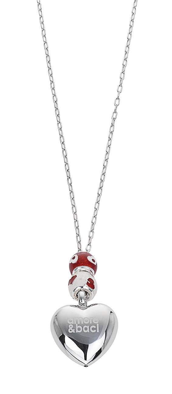Amore & Baci beaded heart silver necklace