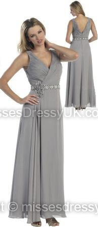A-line V-neck Chiffon Floor-length Silver Flowers Evening Dress
