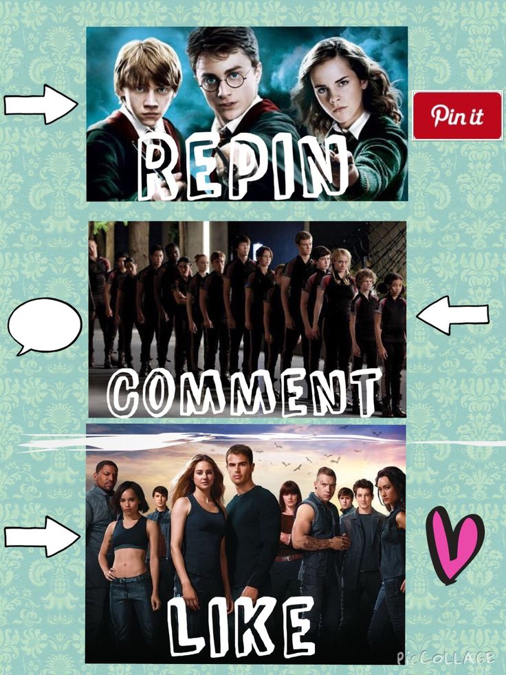 pin it (or repin, whatever) for Harry Potter, comment for The Hunger Games, and like for Divergent
