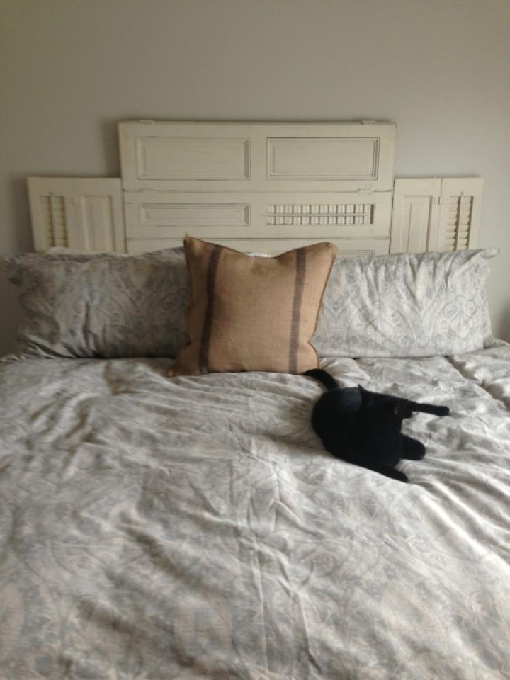 reclaimed shutter headboard from one of our
