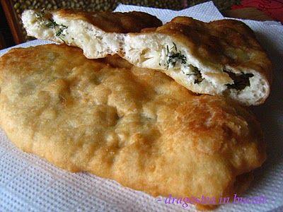 Langosi cu branza si marar - Romanian pan-fried bread with a feta/dill filling....