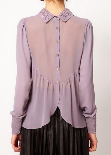 Button Closure Long Sleeve Purple Shirt