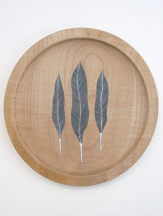 sycamore wood plate // handpainted design // three feathers by natasha newton