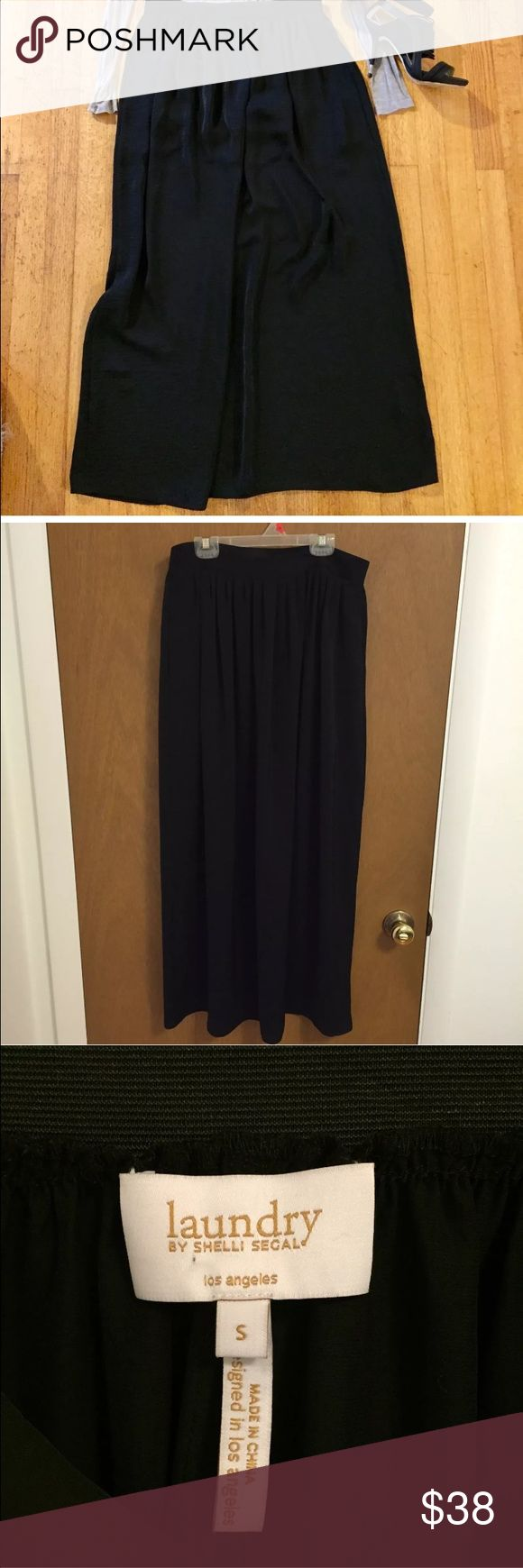 Laundry by Shelli Segal black maxi skirt S Gorgeous black maxi skirt from Nordstrom-- Laundry by shelli segal. Excellent condition. Length measures 39 inches. Waist measures 15 inches across the front while lying flat. Laundry by Shelli Segal Skirts Maxi