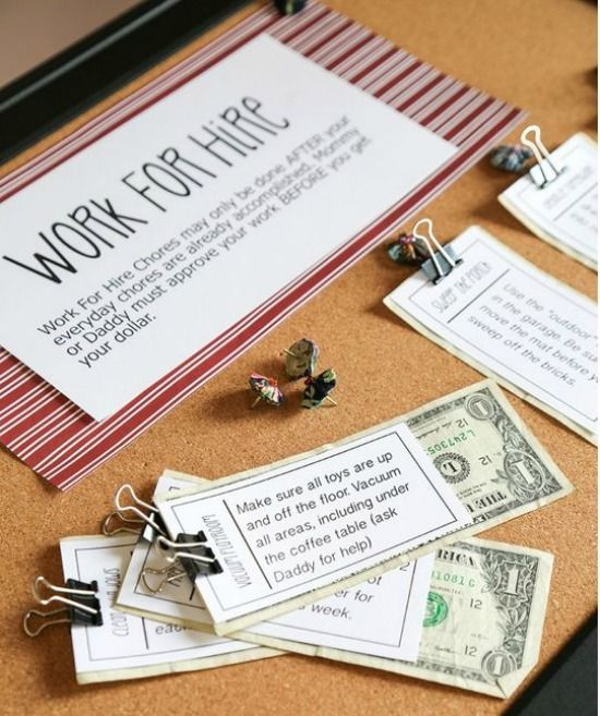 DIY Chore Chart | Nice idea of teaching your children how to earn money by working on different tasks at home! #DIYready
