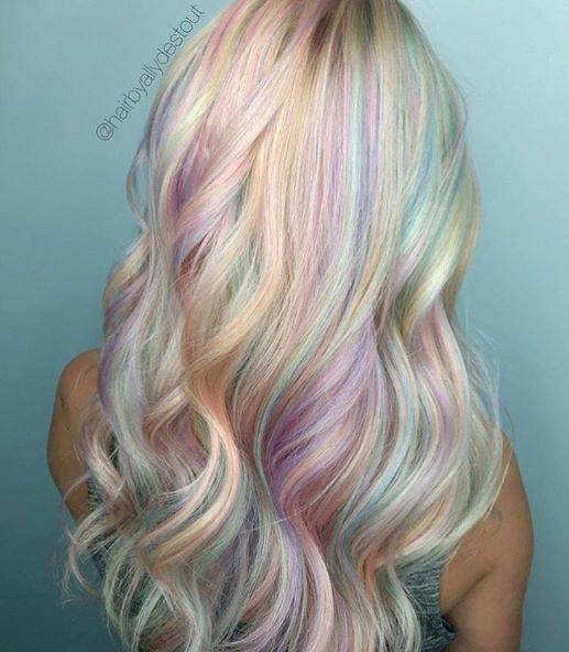 Beautiful hair color and reminds me of Rainbow Quartz from Steven Universe