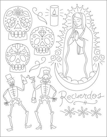 day of the dead embroidery by sublime stitching - Halloween Hand Embroidery Patterns