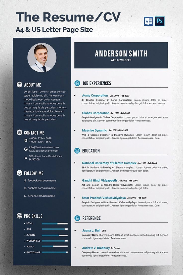 This Is The Resume/CV Template. Elegant page designs are