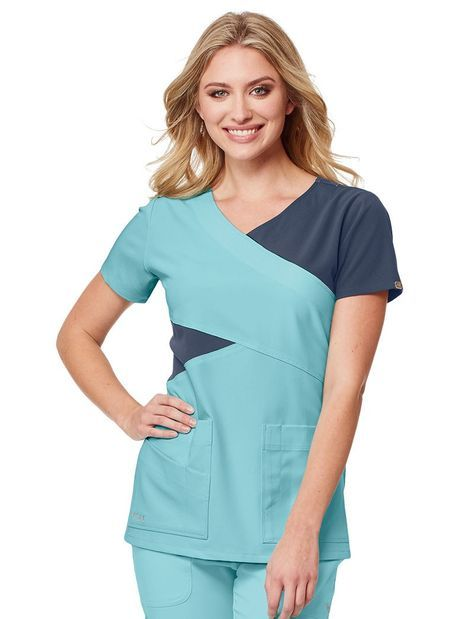 a056943abab Grey's Anatomy Signature 3 Pocket Color Block Mock Wrap Scrub Top ...