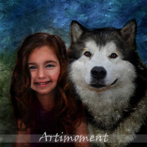 Custom Family Portrait - Custom Portrait, Custom Family Portrait, Custom Kid and Dog Portrait, Girl & Husky portrait, Custom Kids Portrait, Custom Digital Painting >>>>>For more, please visit www.artimoment.com