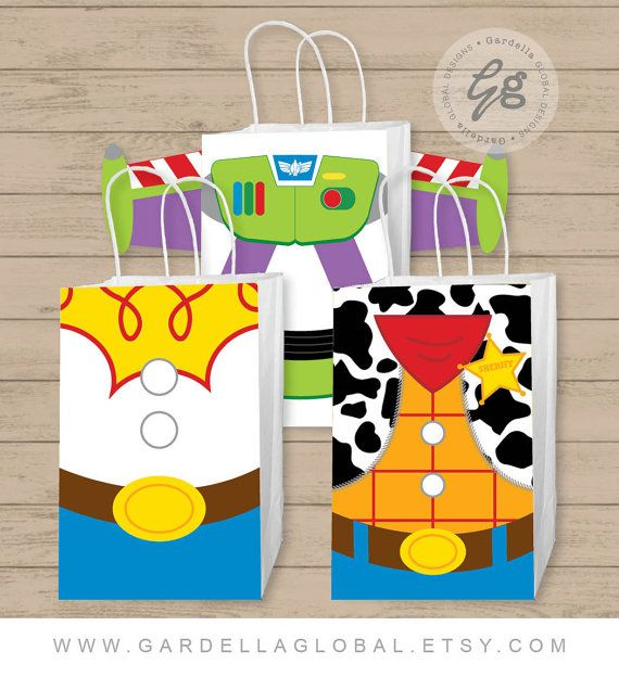 Toy Story Gift Bag Fronts Toy Story Birthday by GardellaGlobal