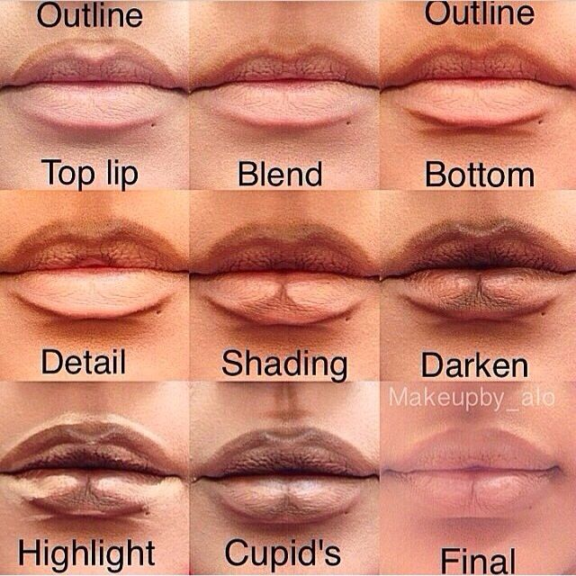 How to make your lips appear larger. // This was made using darker colors so the placement would be easier to see. For a more realistic effect use a shade or two darker than your natural lip color and a shade lighter to highlight. Using powders instead of creams will also give a more natural realistic look.
