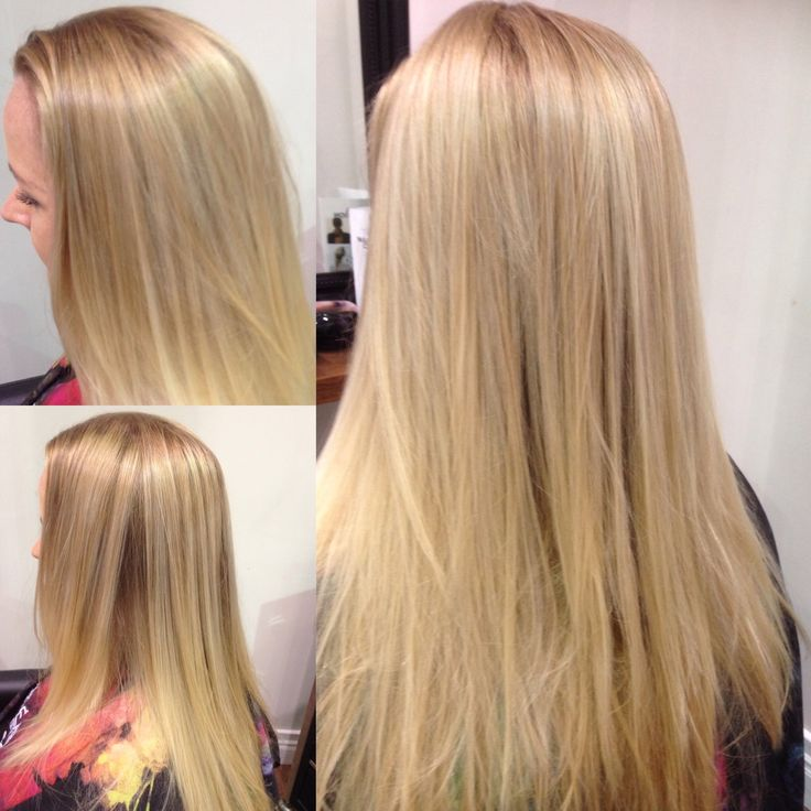 Soft root stretch and mixture of light blonde and light honey Malon balayage
