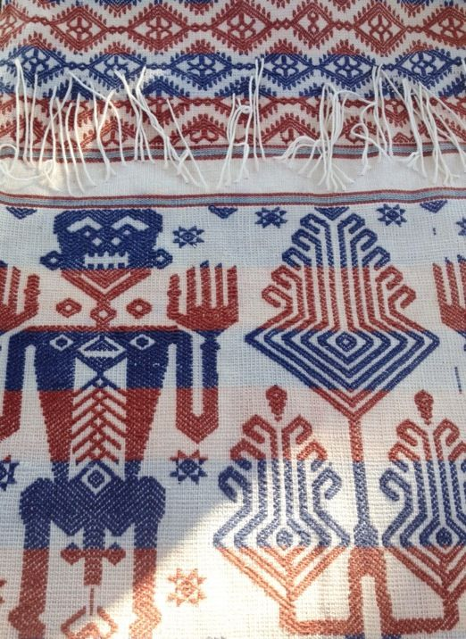 No two pieces of Ikat are ever the same and, depending on the design, one piece like this rare white bridal ikat from Sumba can take a year or more to create. #Indonesia #ikat #textiles