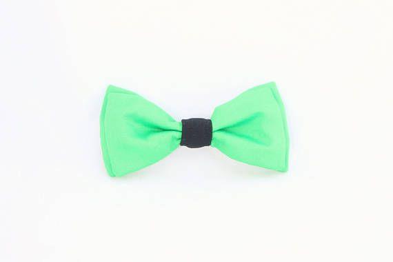 Noeud papillon vert fluo noué interchangeable homme et femme