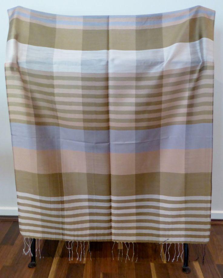 Scarf / Wrap / Shawl, 100% Silk, Unisex, Luxurious, Soft, Geometric Patterns, Neutral Palette, Browns & Greys, #13 by WanderingThreadz on Etsy