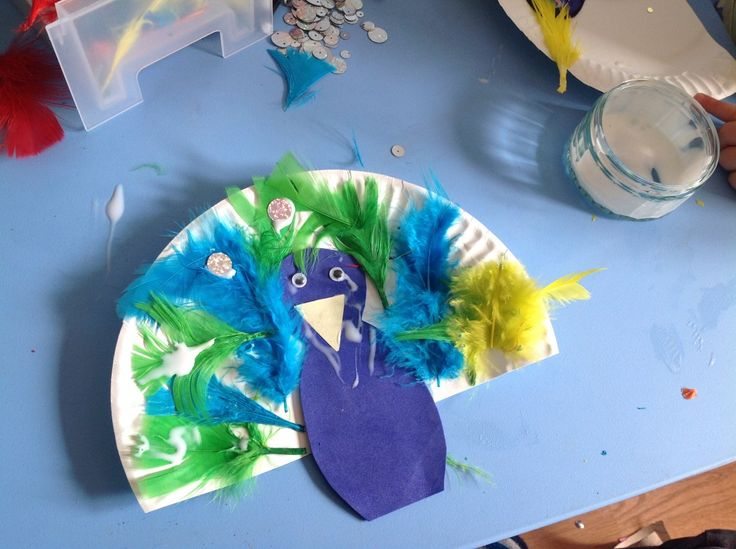 Paperplate Feather Peacock Zoo Preschool Craft