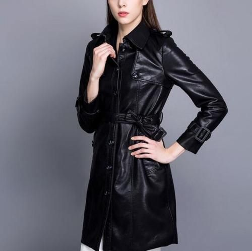 L-039-EUROPA-le-donne-a-vento-cappotto-Slim-Parka-in-pelle-lunga-Trench-giacca-lunga-outwear